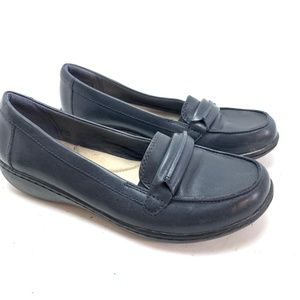 CLARKS COLLECTION Navy Blue Loafers Shoes sz 8M